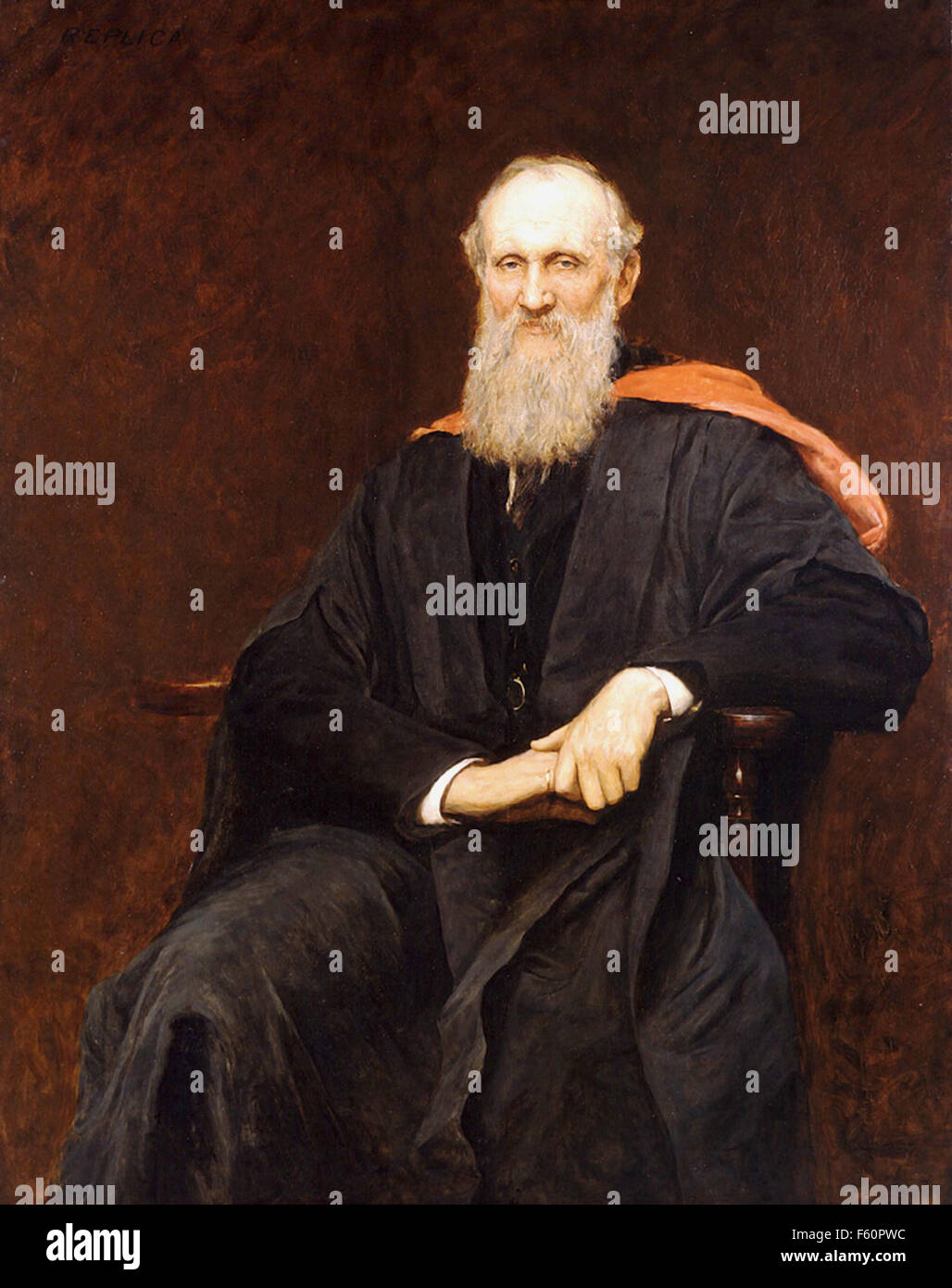 WILLIAM THOMSON, Lord Kelvin (1824-1907) Irish physicist and engineer painted by Hubert Herkomer about 1900 - Stock Image