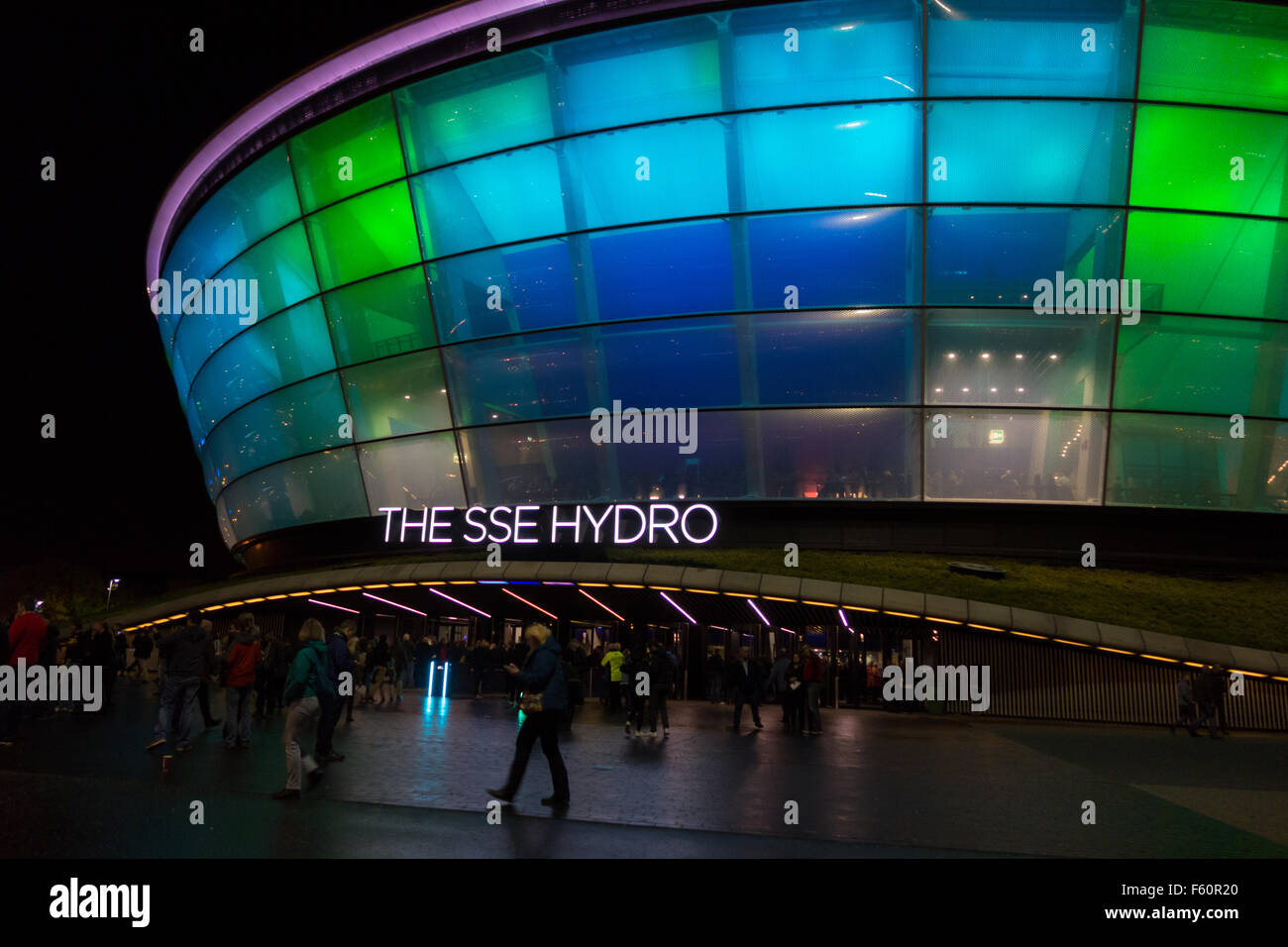 music fans entering The SSE Hydro music and entertainment arena - Glasgow, Scotland, UK - Stock Image