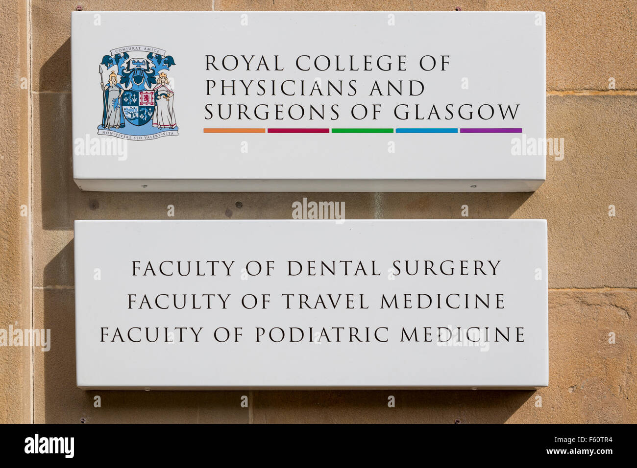 Royal College of Physicians and Surgeons of Glasgow sign, Glasgow, Scotland, UK - Stock Image