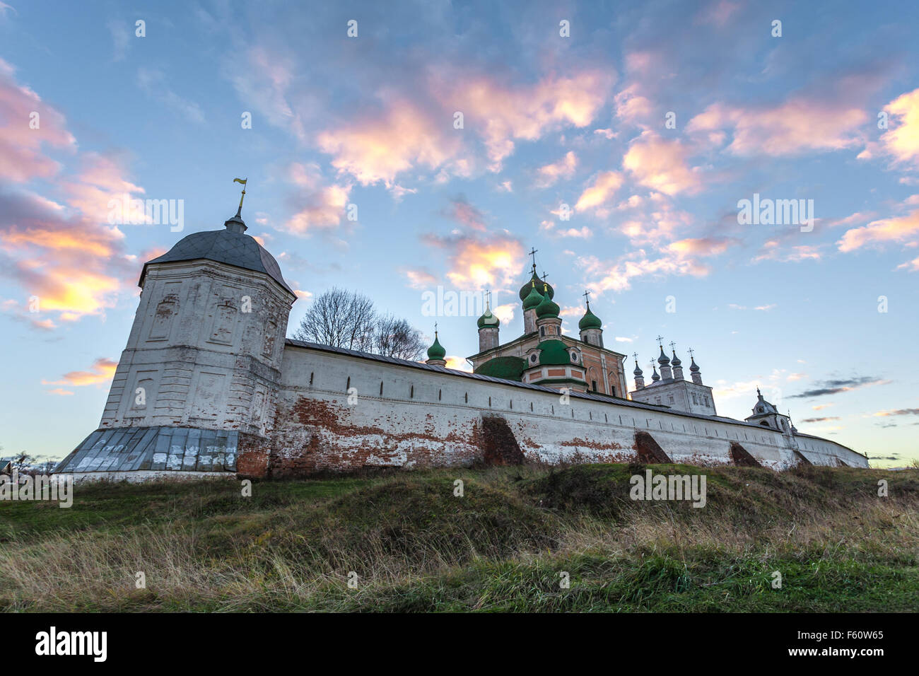 Pereslavl-Zalessky, Russia - November 03, 2015: Goritsky Monastery of Dormition. Look on the Northeast watchtower. - Stock Image