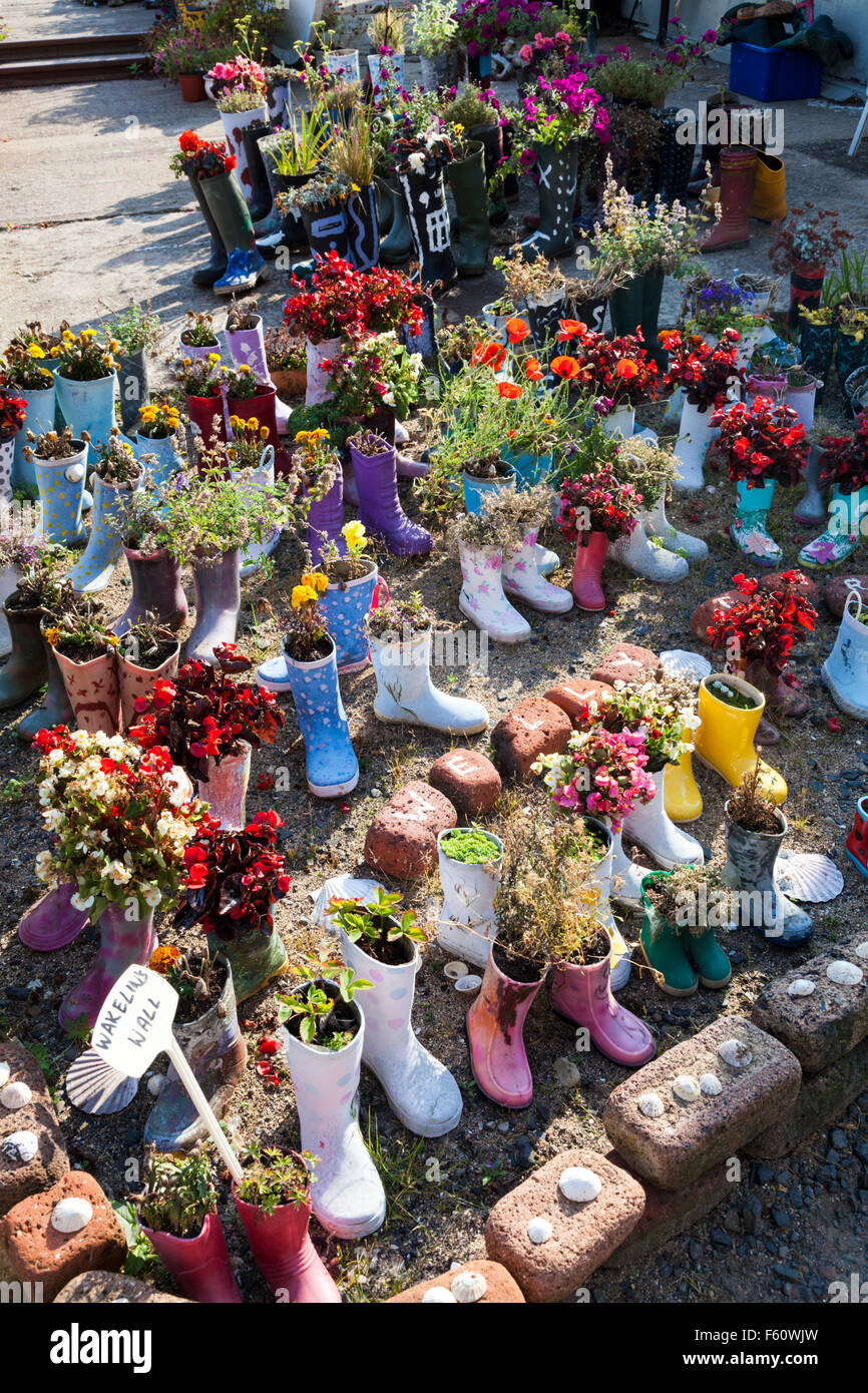 The welly boot garden in the fishing village of St Monans in the East Neuk of Fife, Scotland, UK Stock Photo