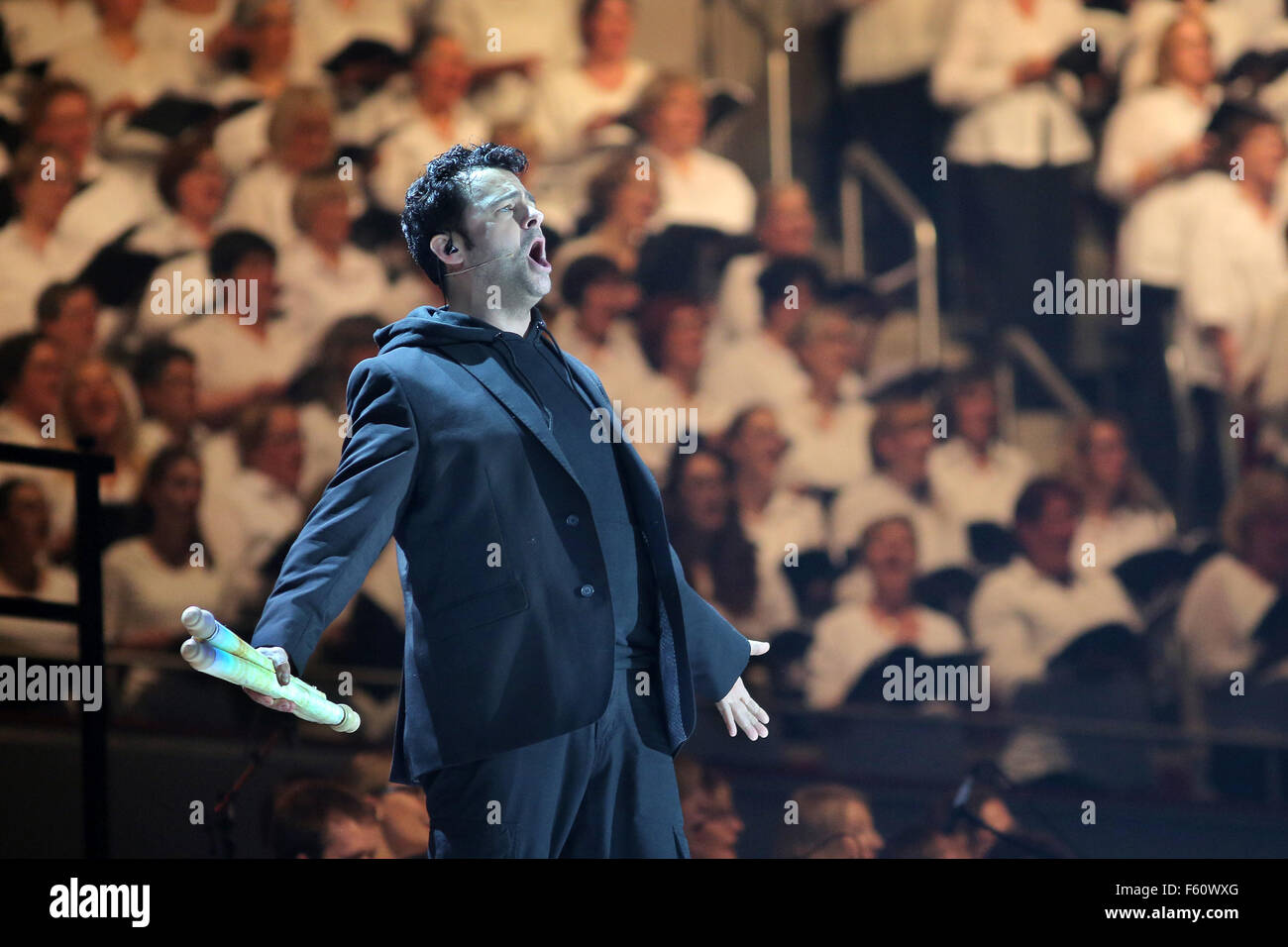 The Christian pop oratorio 'Luther' (Martin Luther played by actor Frank Winkels) has been performed for - Stock Image