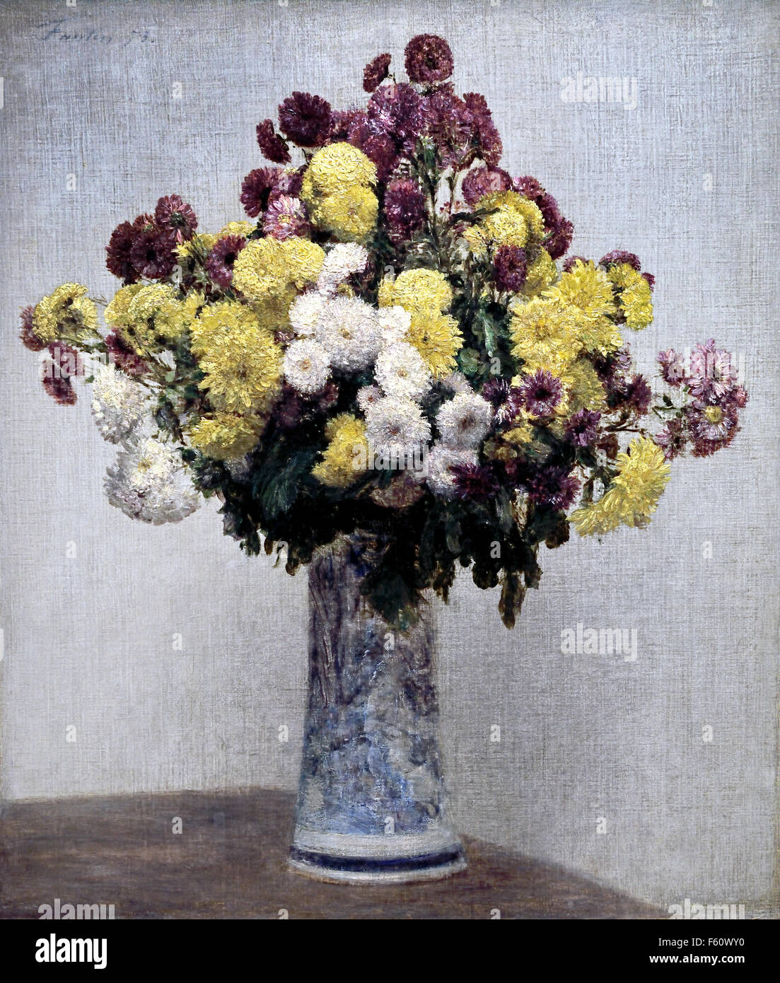 Chrysanthemums in a vase 1873 Henri Fantin Latour 1836-1904 France French - Stock Image