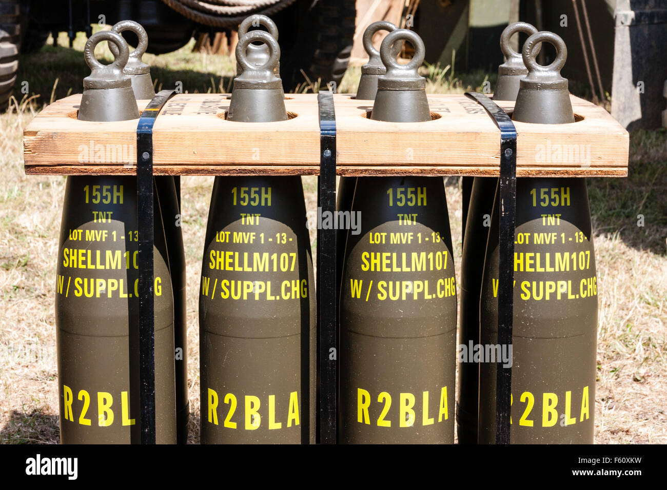 Rolling Thunder Vietnam war re-enactment society. Stack of eight artillery Shells, M155 calibre. Side-view. R2BLA - Stock Image