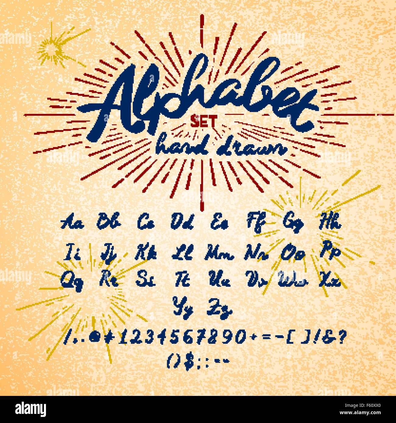 Hand Drawn Alphabet Vector Ink Lettering Font Typographic Design Letters Numbers Symbols On Paper Texture Of Trendy