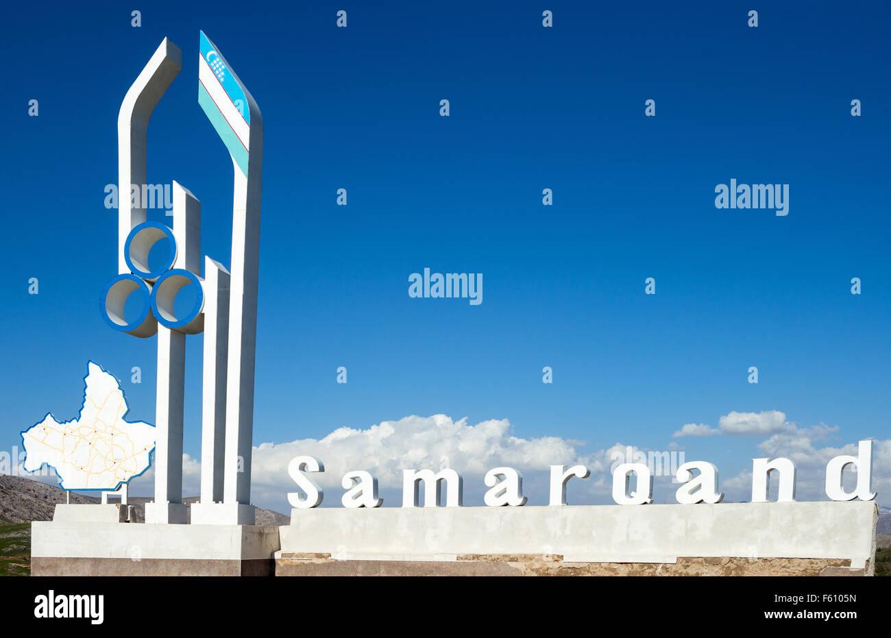 Uzbekistan, Samarkand, the big sign that marks the entrance to the Samarkand region - Stock Image