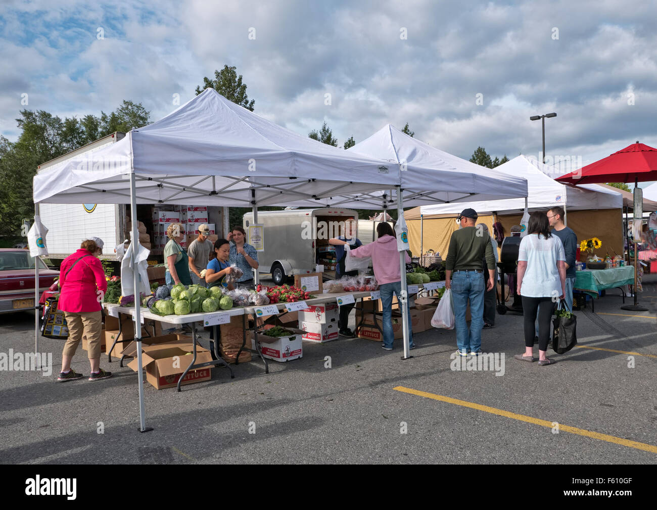 South Anchorage Farmers Market, fresh vegetables, shoppers. - Stock Image