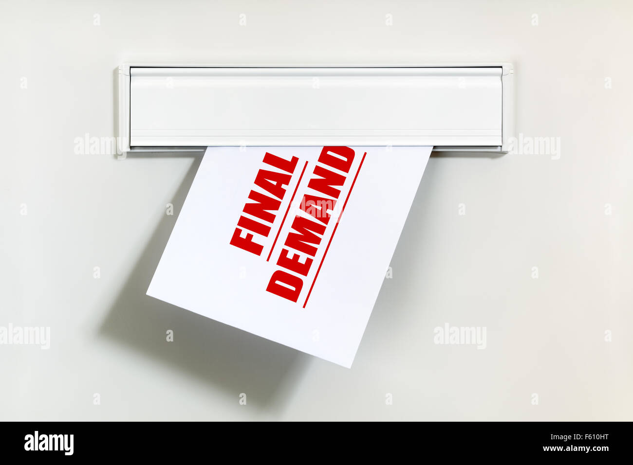 Final Demand Notice On Letter Being Delivered Through A Letterbox