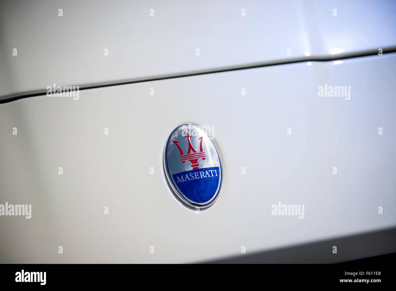 Maserati Bonnet Badge - Stock Image