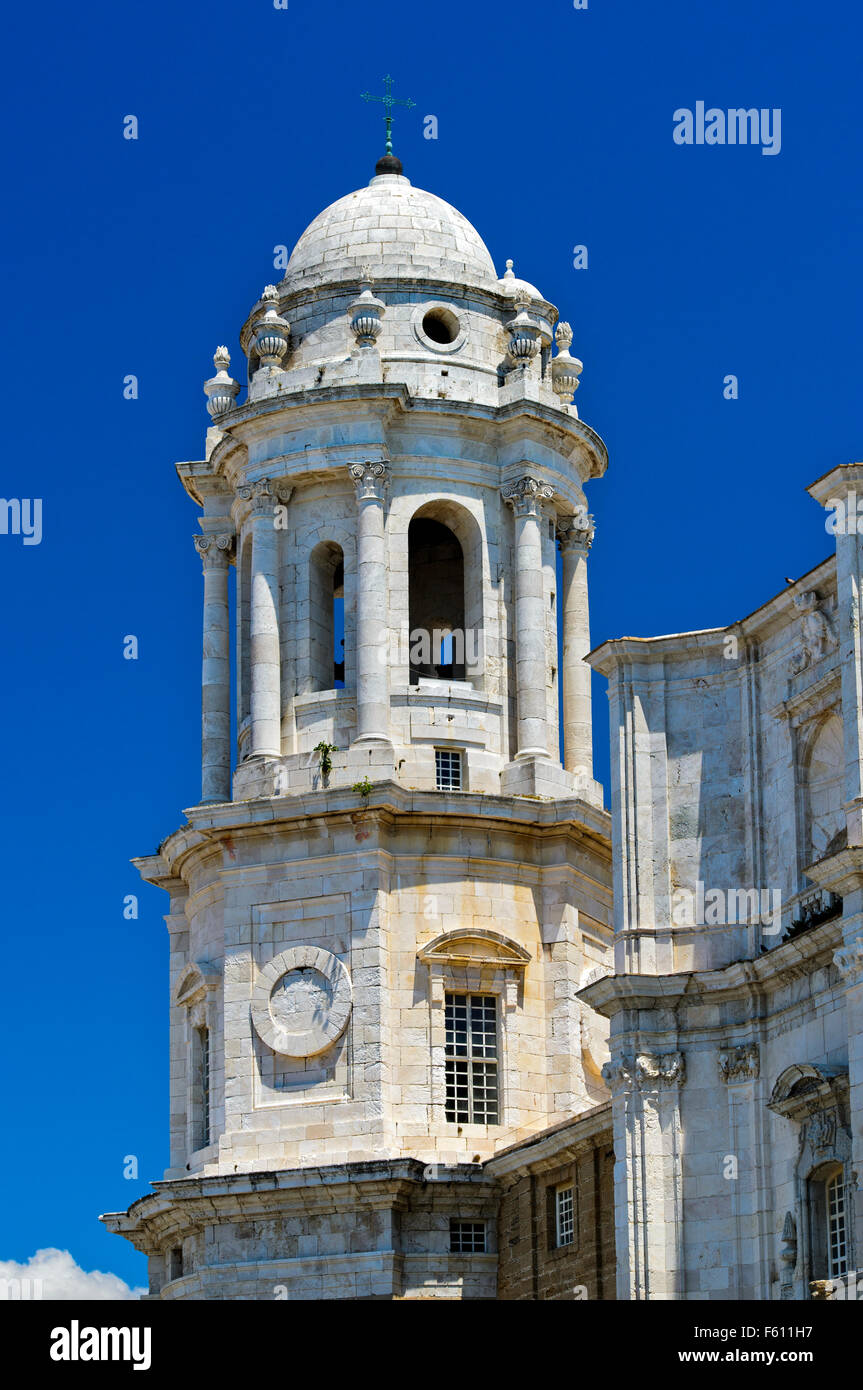 Tower, Cathedral of Cadiz, Andalucía, Spain - Stock Image