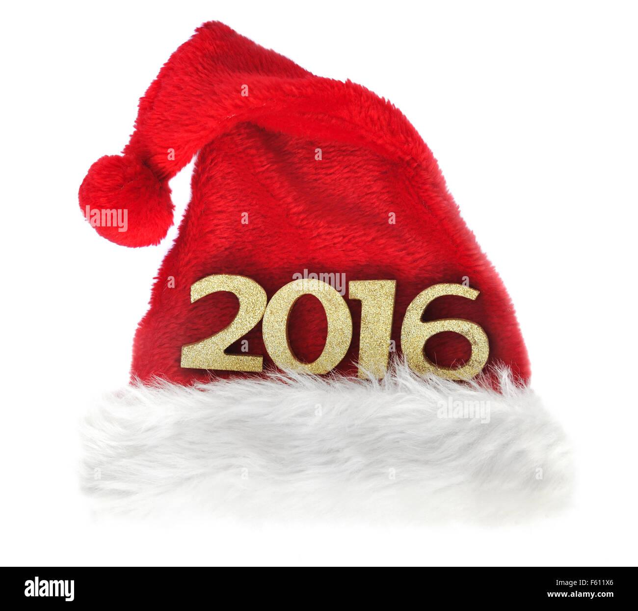 2016 golden figures on santa klaus hat Stock Photo