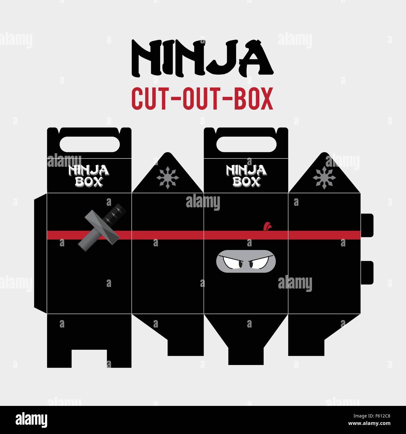 Ninja Cut Out Box Vector Template