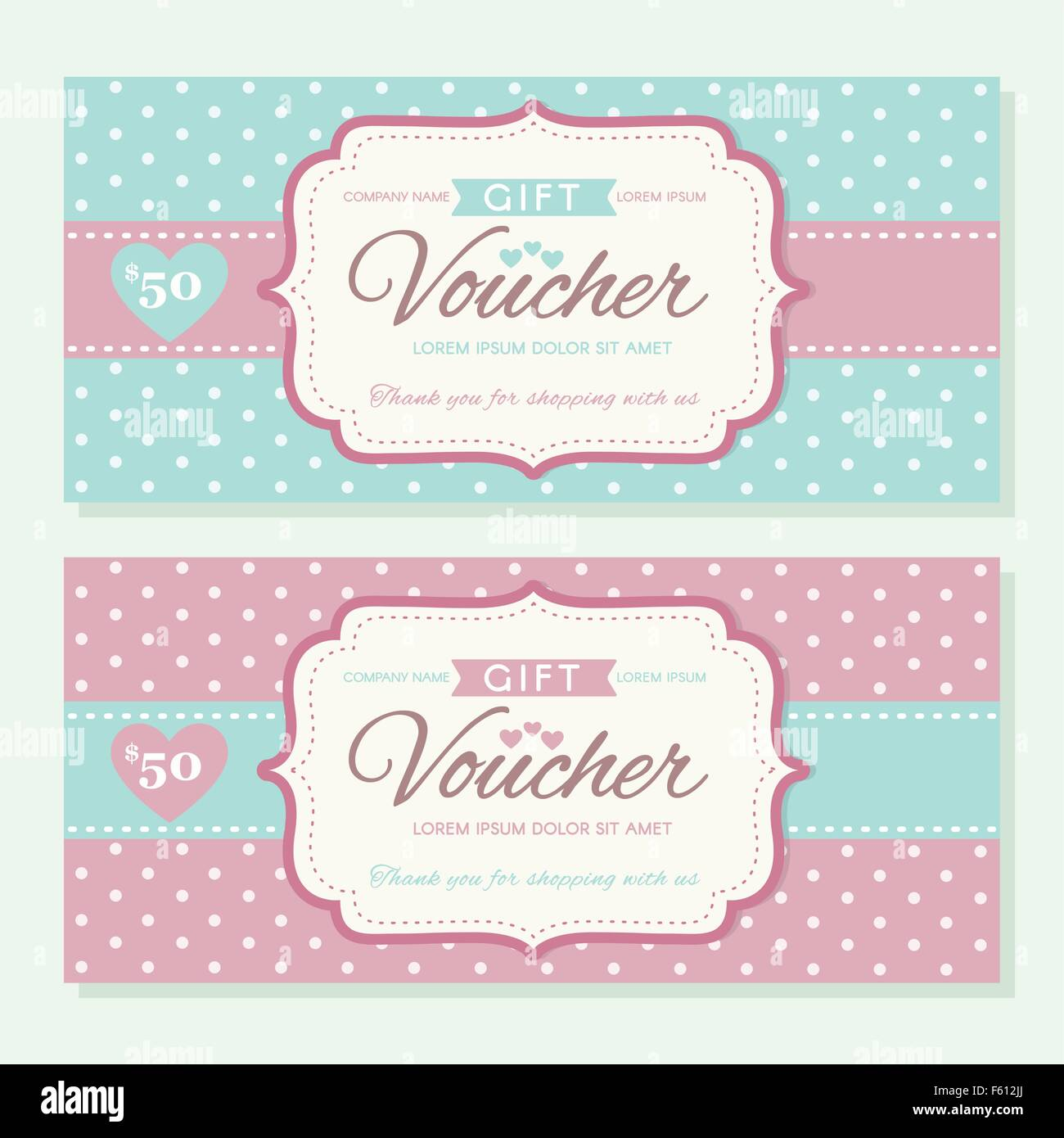Elegant Gift Voucher Template With Polka Dot Background Stock Vector