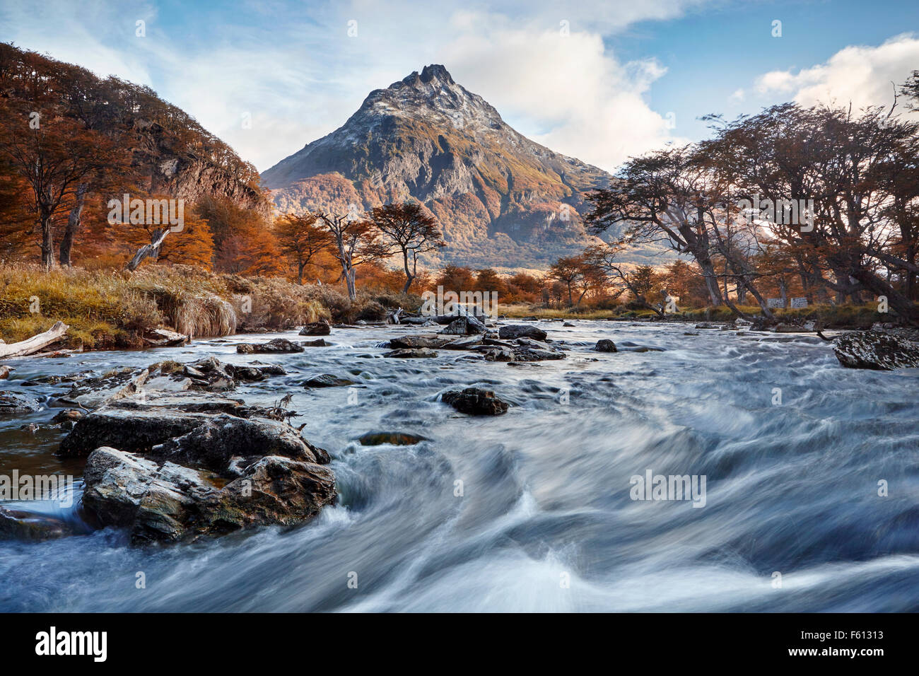 Rifer and mountain, Rio Olivia, Monte Olivia, Tierra del Fuego National Park, Argentina - Stock Image
