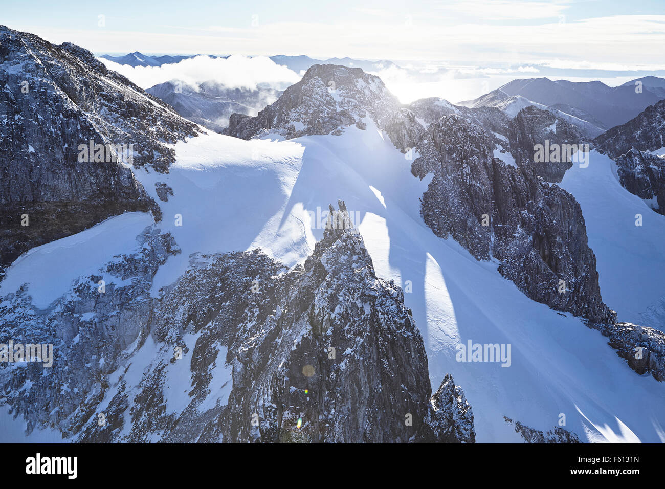 Aerial view, Andes with snow, Tierra del Fuego National Park, Argentina - Stock Image