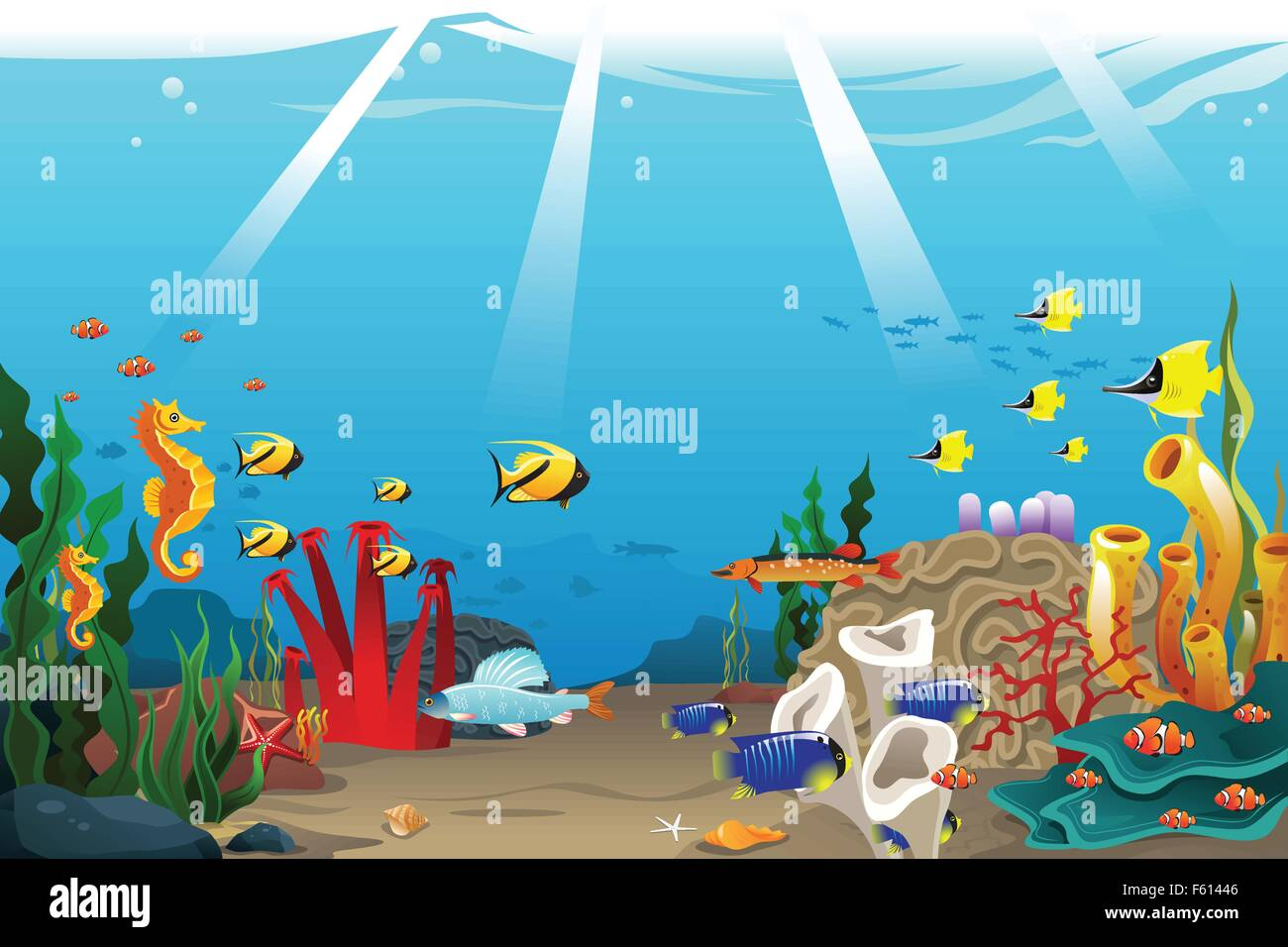 A vector illustration of marine life design - Stock Vector