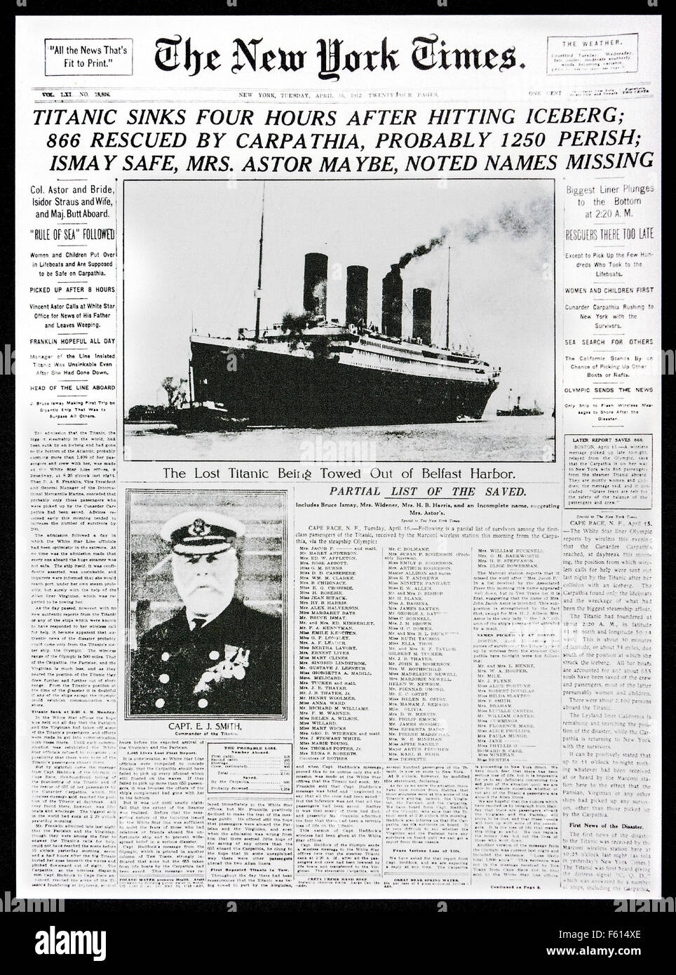 1912 front page news of The New York Times reporting the sinking of the Titanic after hitting iceberg - Stock Image