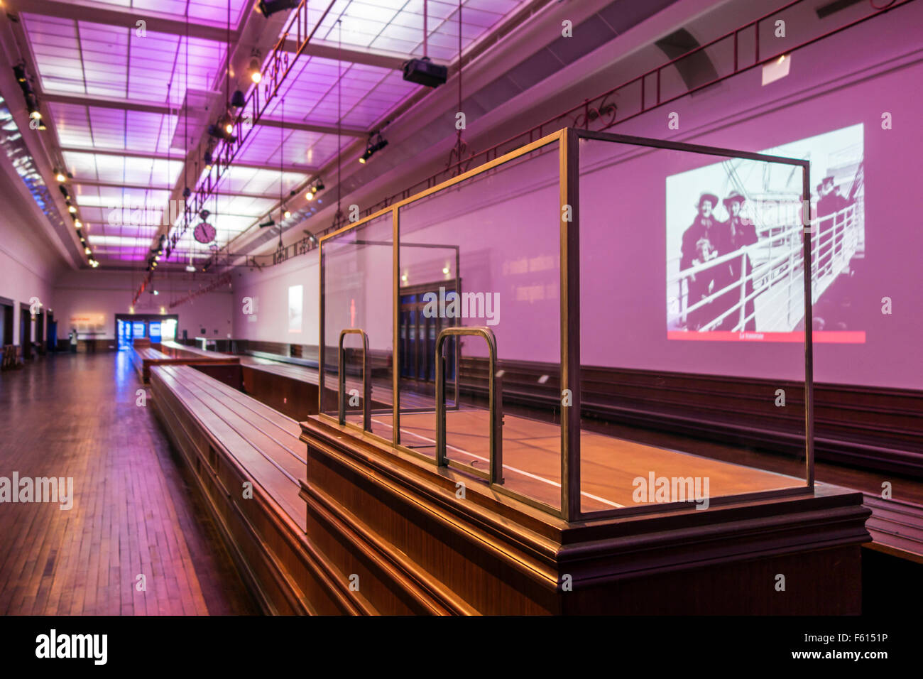 Luggage room in Art Deco style of cruise terminal in Cherbourg harbour, last Continental stopover for Titanic, Normandy, - Stock Image