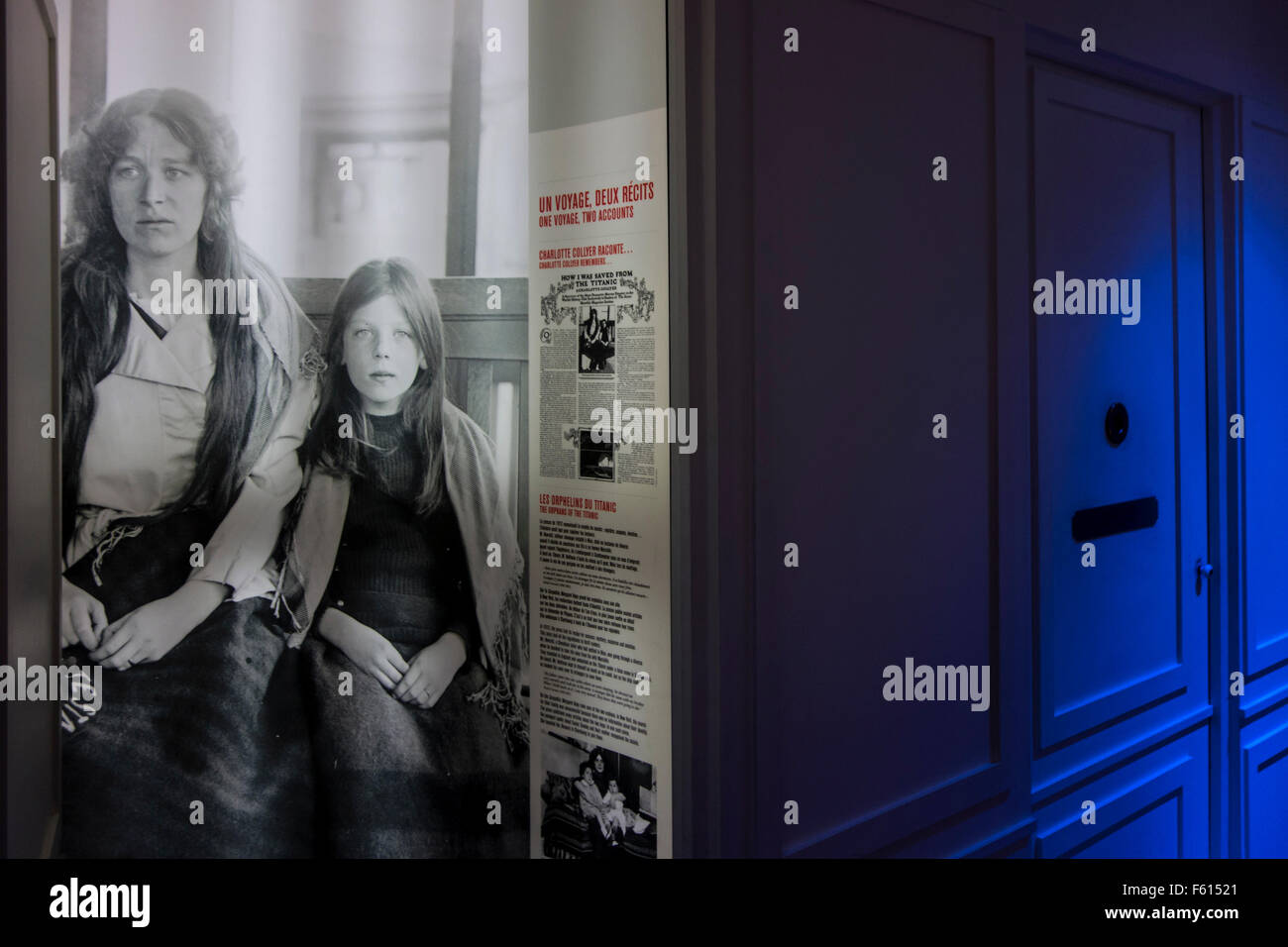 Picture of emigrants at Titanic exposition in the Cité de la Mer, maritime museum in Cherbourg, Normandy, France - Stock Image