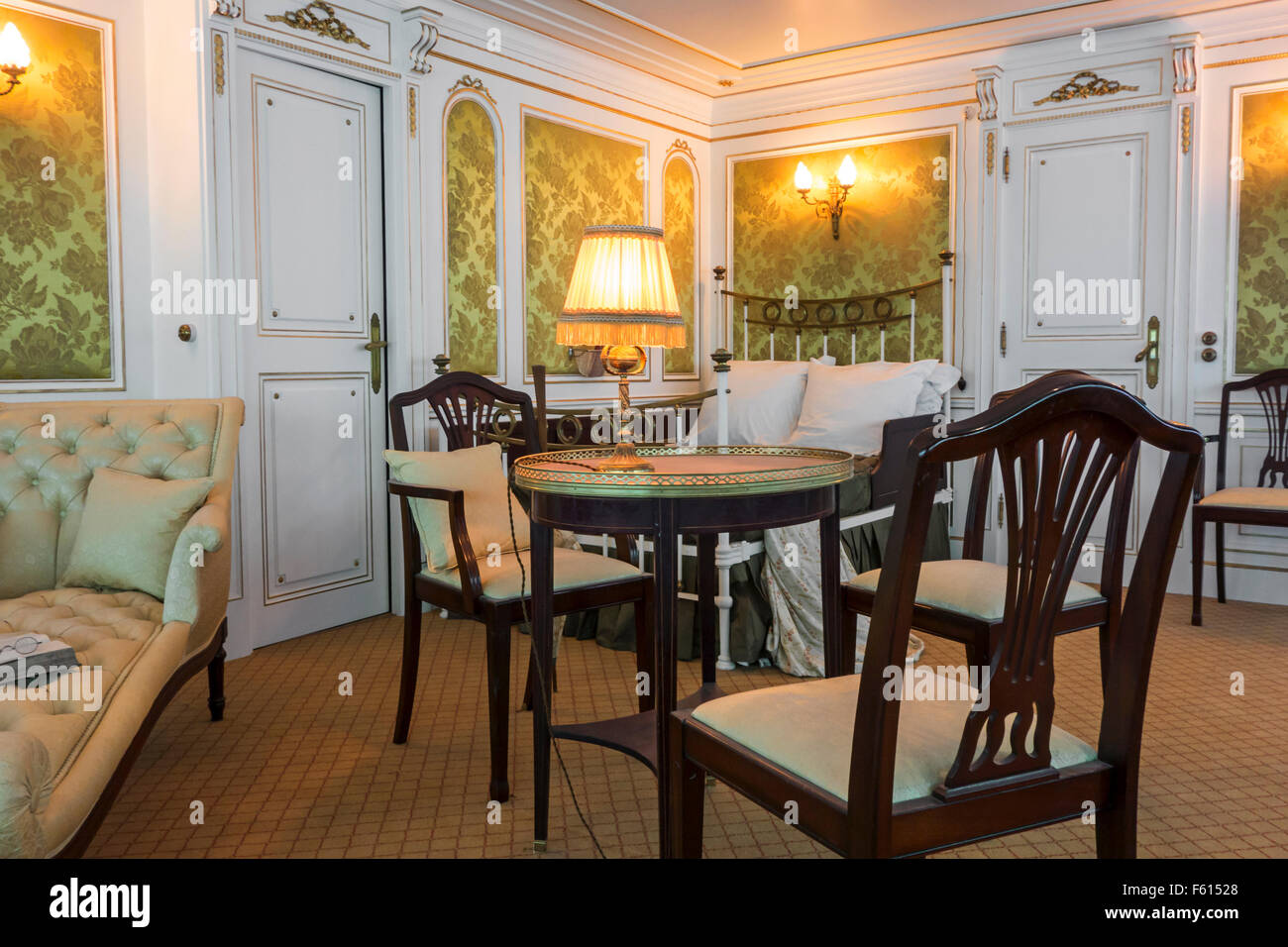 Reconstruction of first class cabin aboard the Titanic, Cité de la Mer, maritime museum in Cherbourg, Normandy, - Stock Image