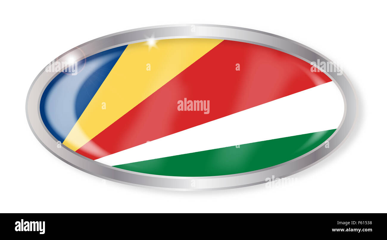 Oval silver button with the Seychelles flag isolated on a white background - Stock Image