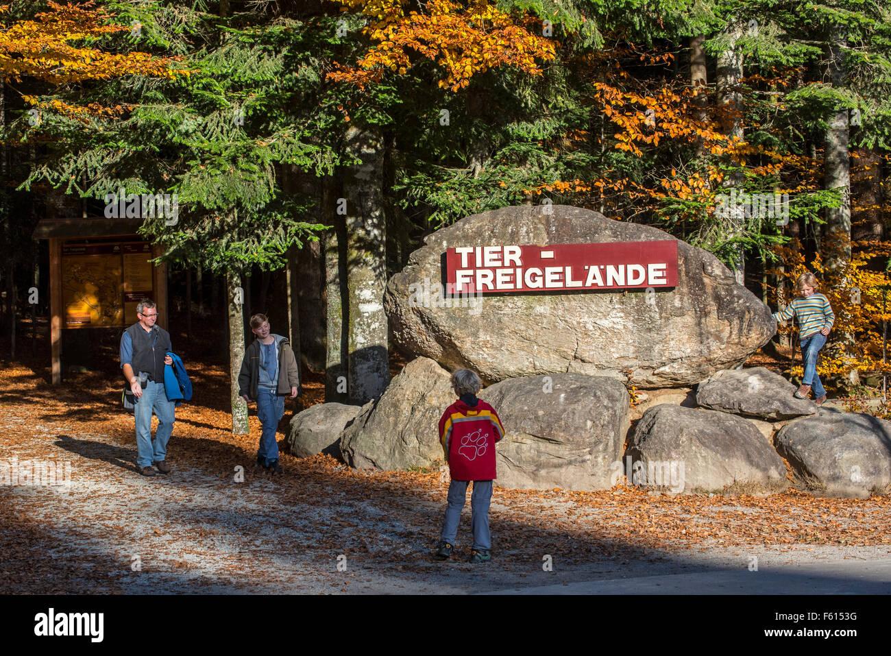 Tourists at entrance of Tierfreigelände, wildlife park at Neuschönau, Bayerischer Wald / Bavarian Forest National Stock Photo