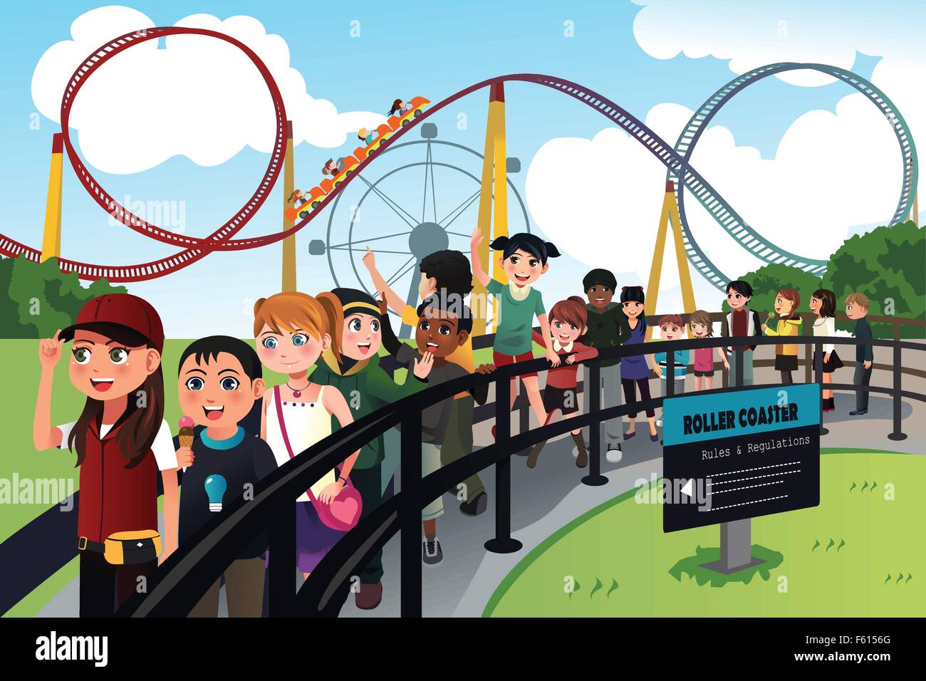 A vector illustration of excited children waiting in line for a roller coaster ride - Stock Vector