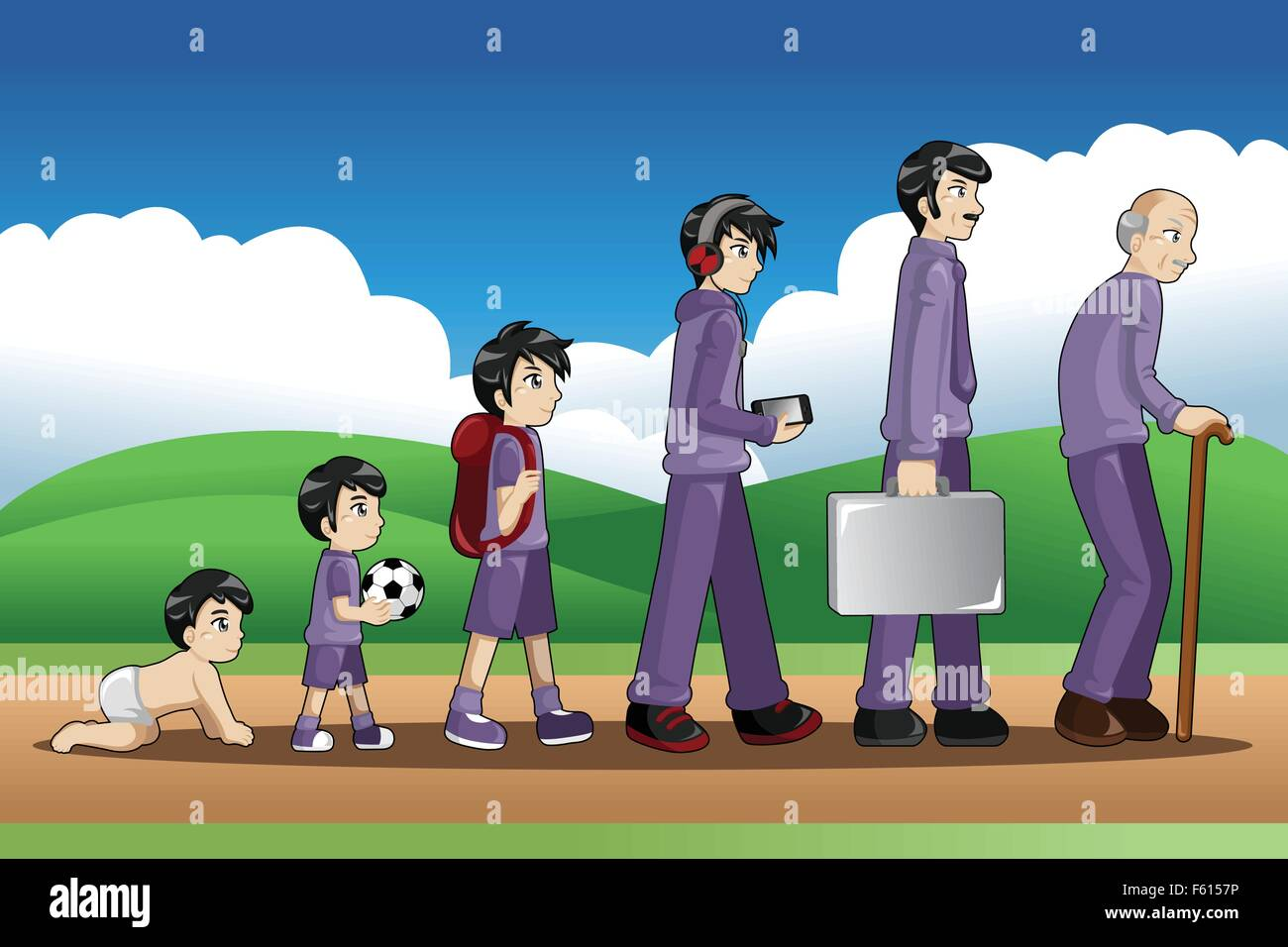 A vector illustration of a different stage of life of a man from young to old for evolution concept - Stock Image