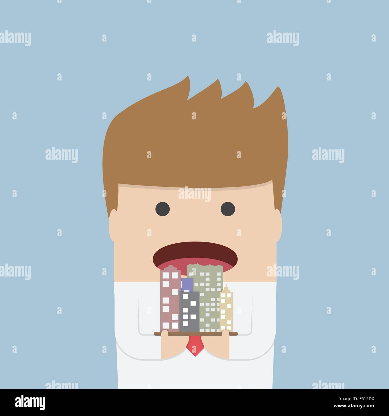 Businessman eating the city, Corruption concept, VECTOR, EPS10 - Stock Vector