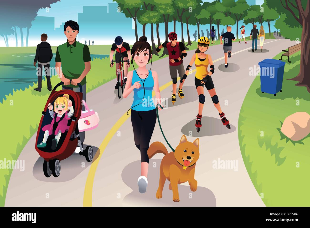 a vector illustration of people in a park doing activities winding road clip art transparent background winding road clipart png