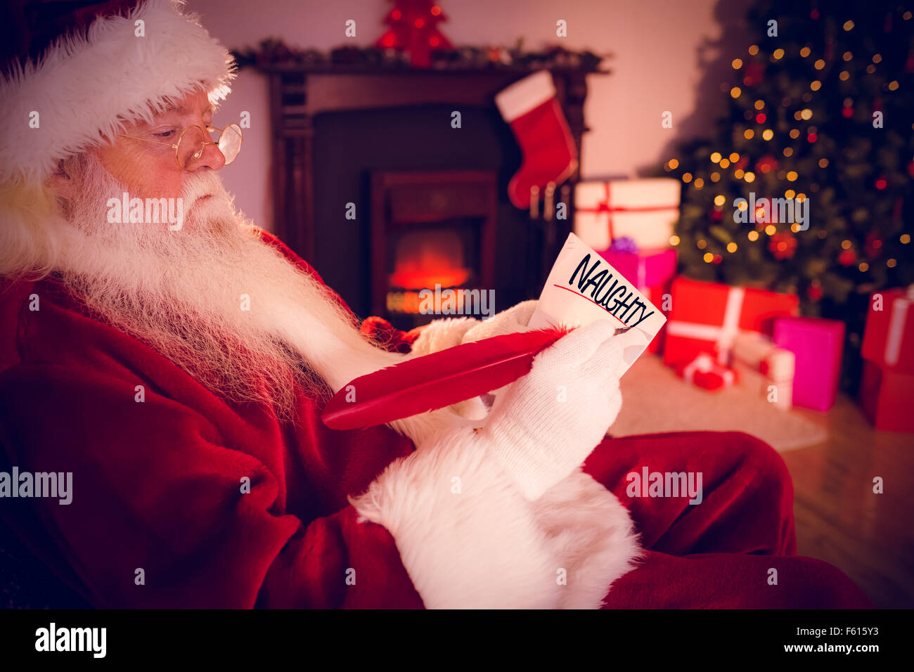Composite image of naughty or nice - Stock Image