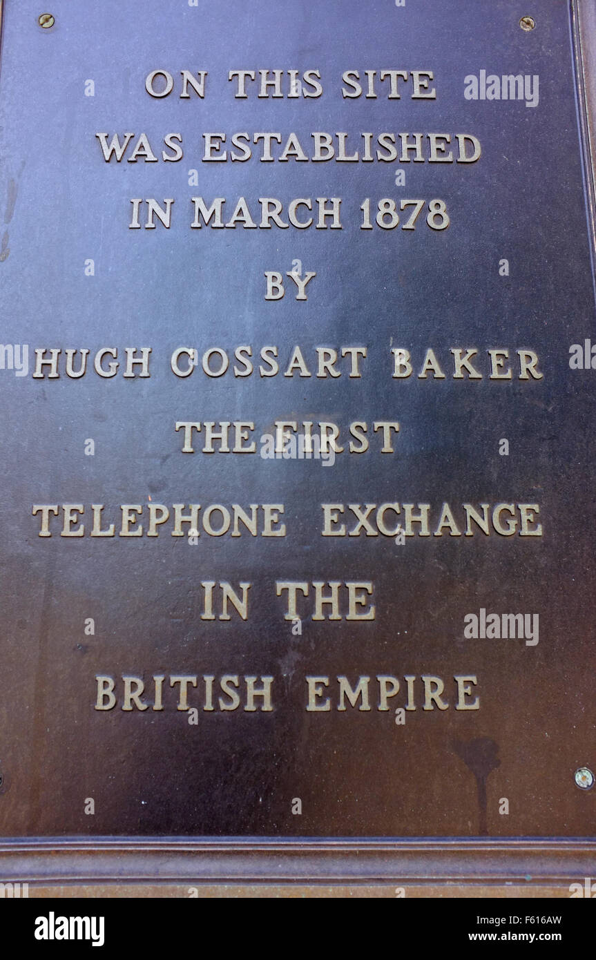 A plaque to commemorate the first telephone exchange in the British Empire erected in the Canadian city of Hamilton. - Stock Image