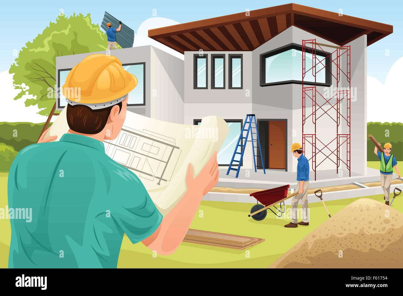 A vector illustration of architect working at the construction site Stock Vector