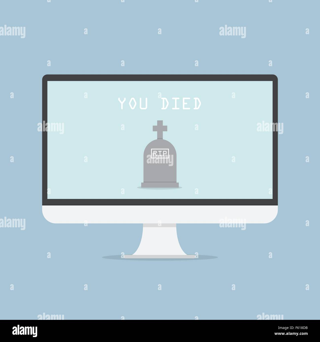 Computer monitor with grave and text YOU DIED, VECTOR, EPS10 - Stock Vector