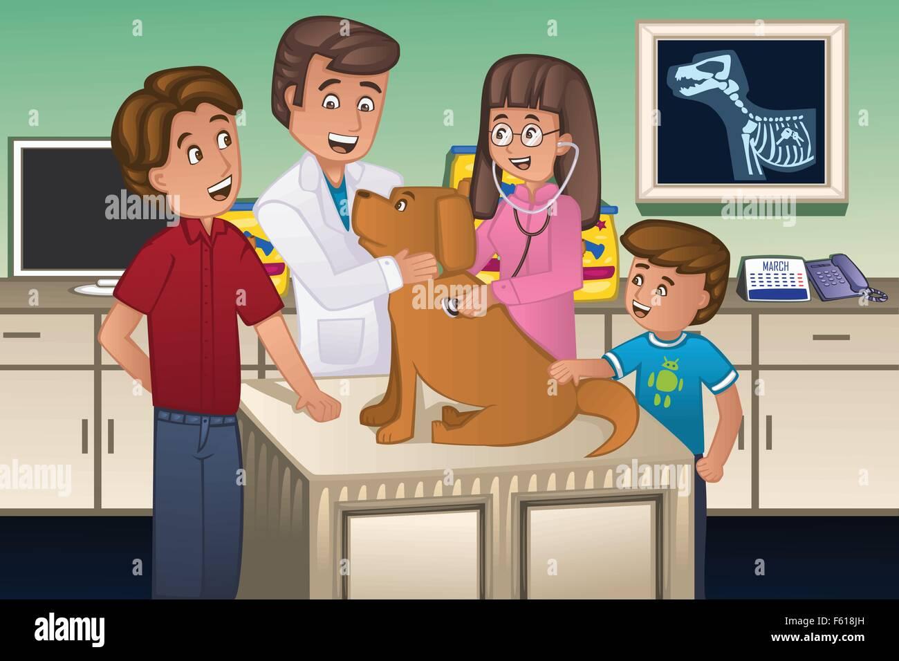 A vector illustration of a veterinarian examining a cute dog - Stock Vector