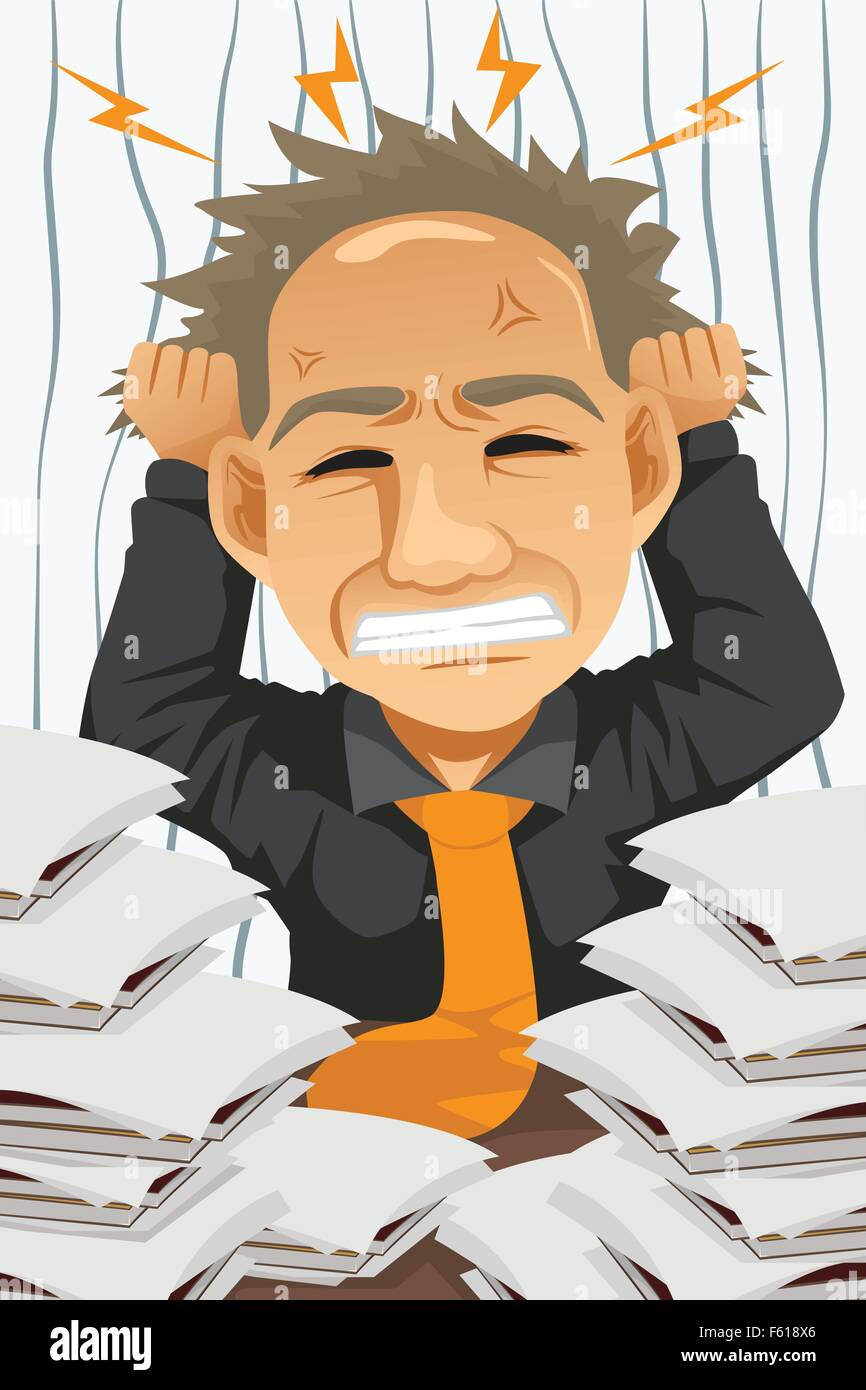 A vector illustration of tired and stressed businessman - Stock Vector