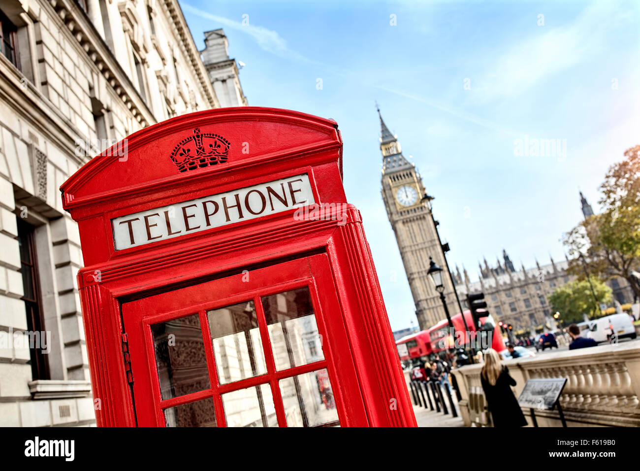 London telephone booth and big ben - Stock Image