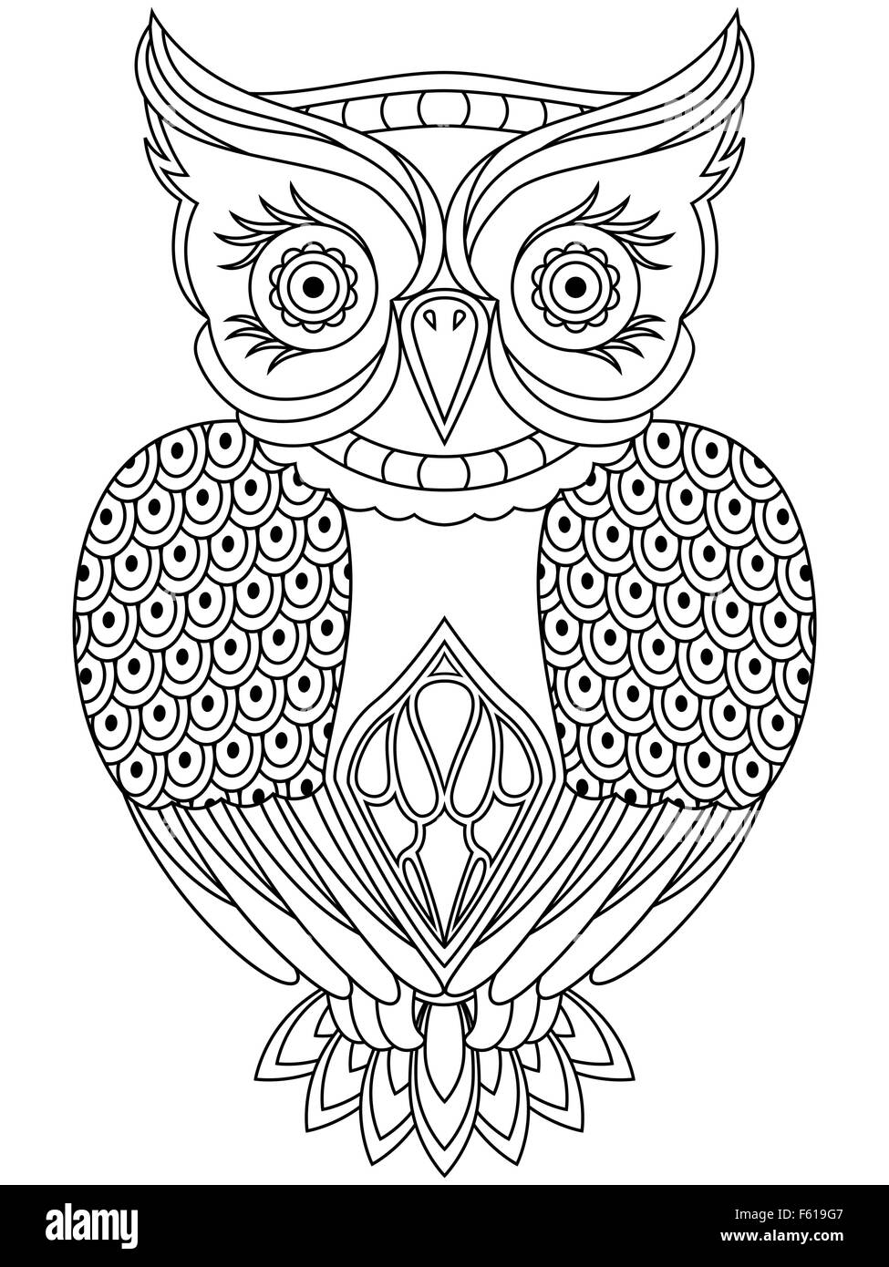 Abstract outline of respected owl, cartoon vector illustration isolated on a white background - Stock Image