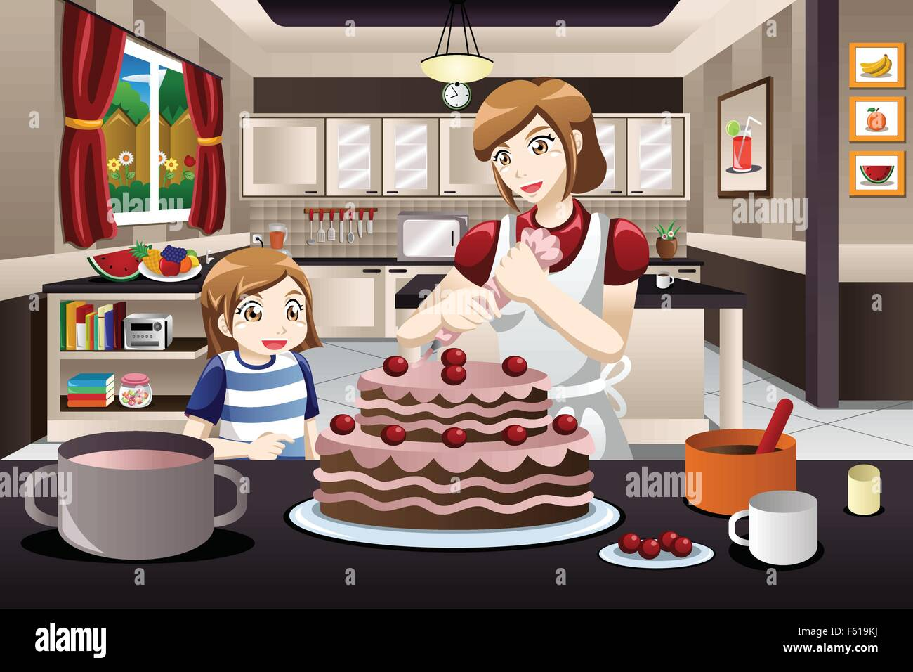 A vector illustration of mother and her daughter decorating a cake together - Stock Vector