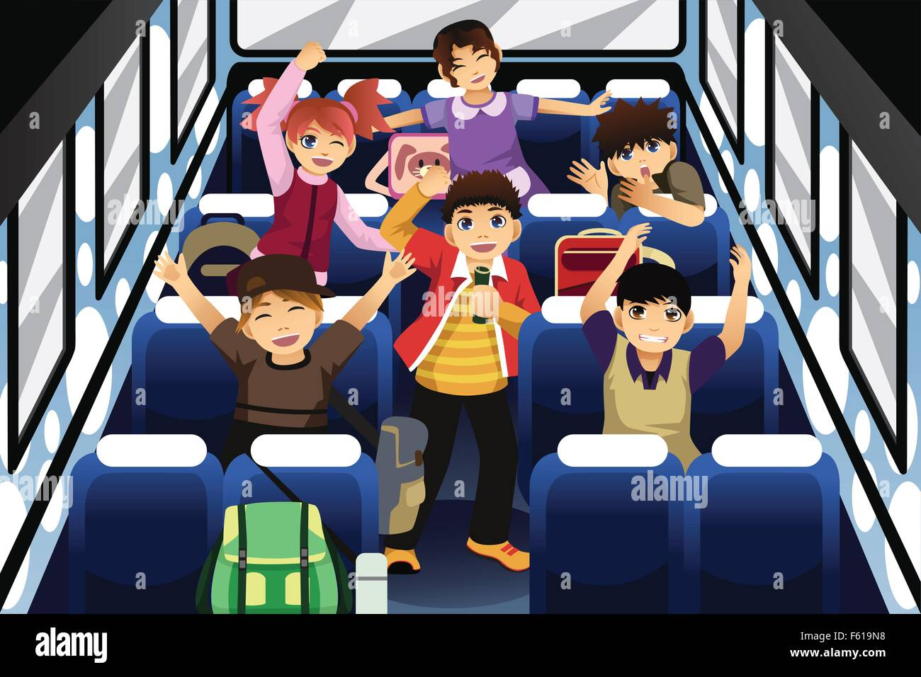 A Vector Illustration Of School Children Singing And Dancing