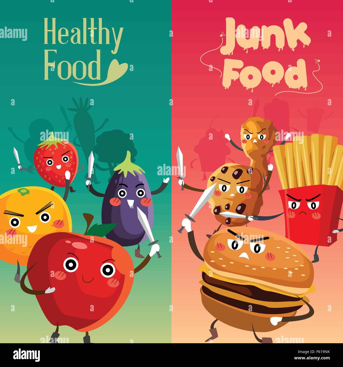 A vector illustration of healthy food versus unhealthy ...