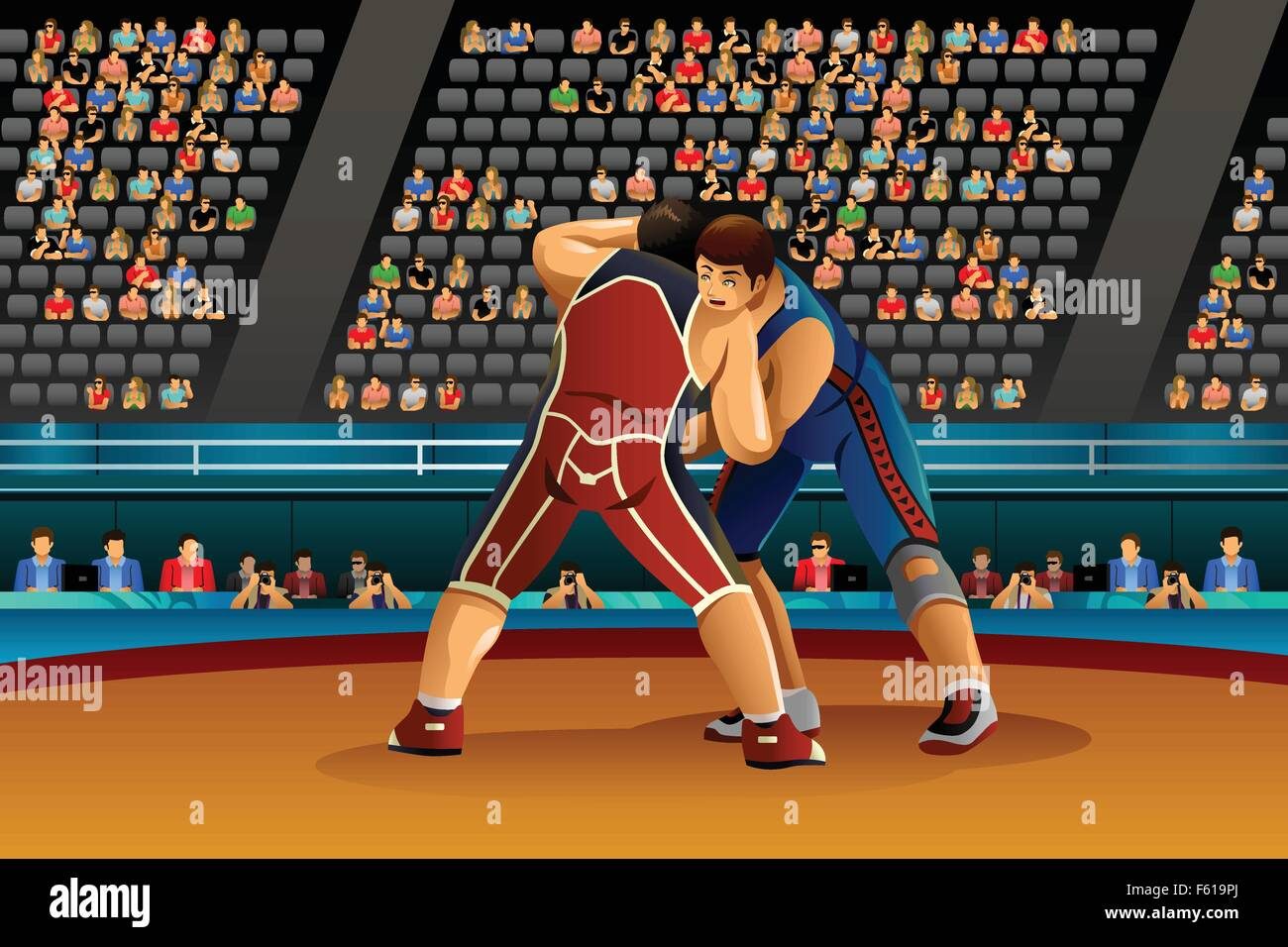 A vector illustration of two male athletes wrestle in the competition for sport competition series - Stock Image