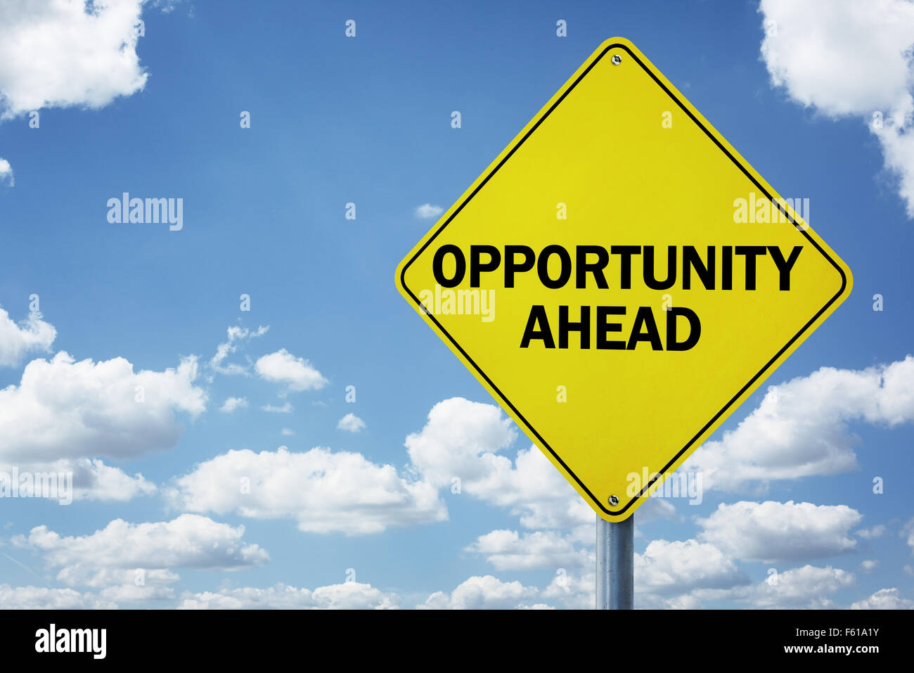 Opportunity ahead road sign - Stock Image