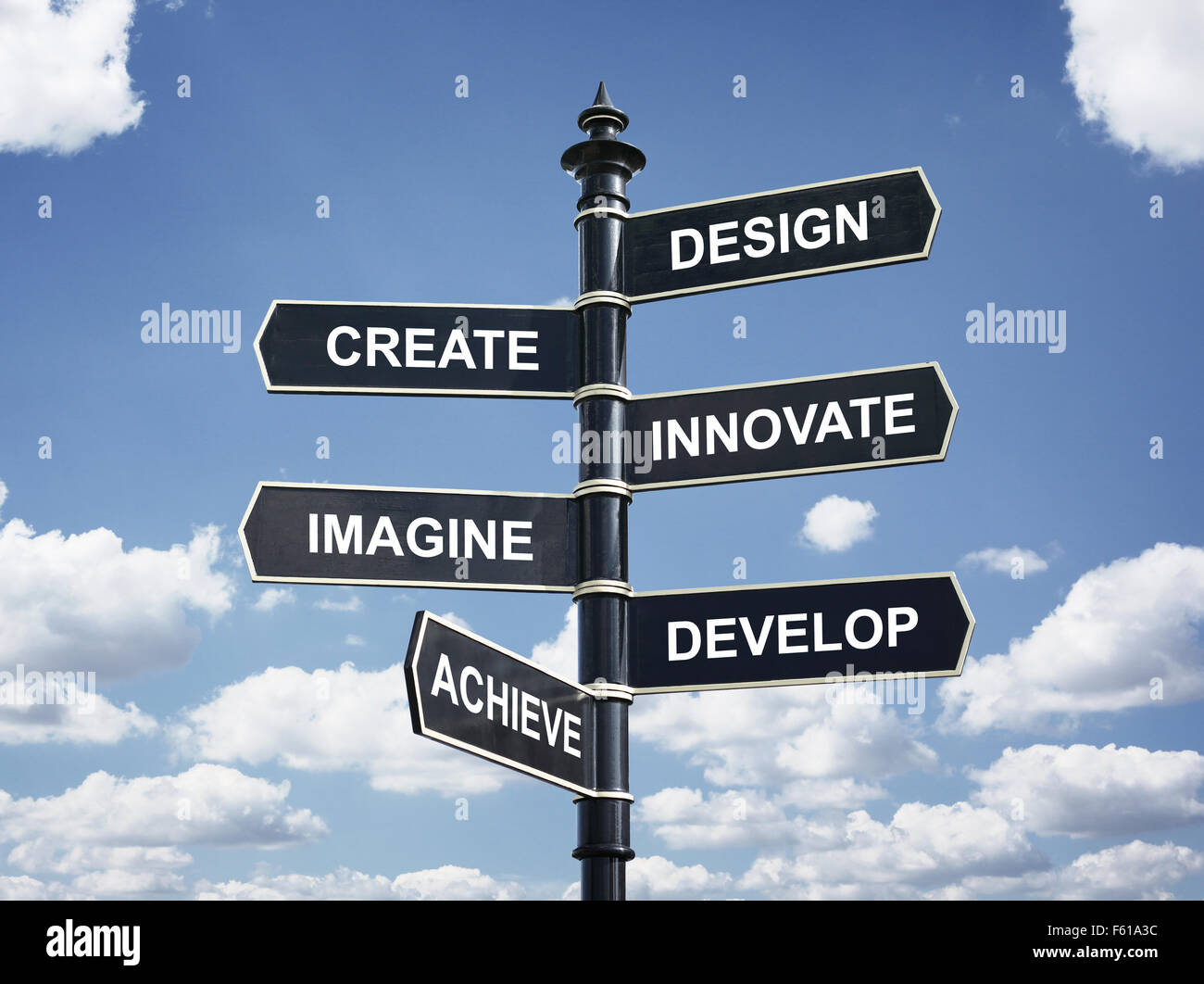 Design, create, innovate, imagine, develop and achieve motivational direction signpost - Stock Image
