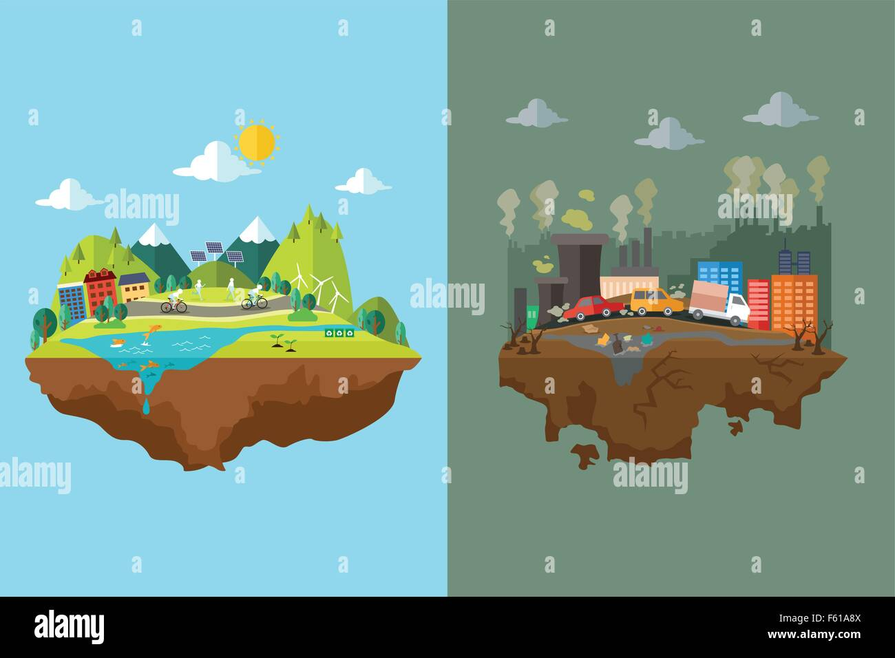 A vector illustration of comparison of clean city and polluted city - Stock Vector