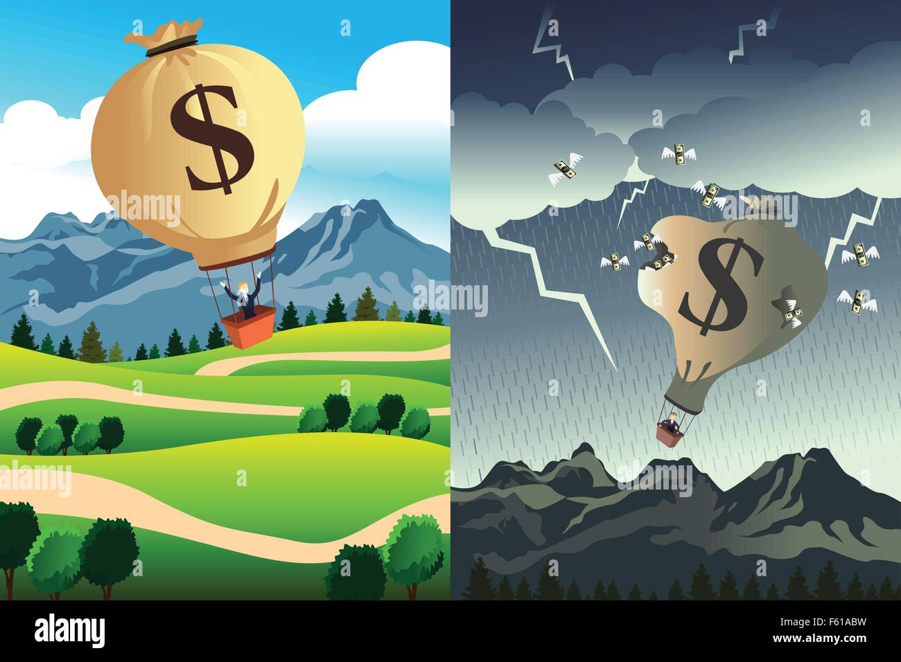 A vector illustration of success versus bankruptcy - Stock Image