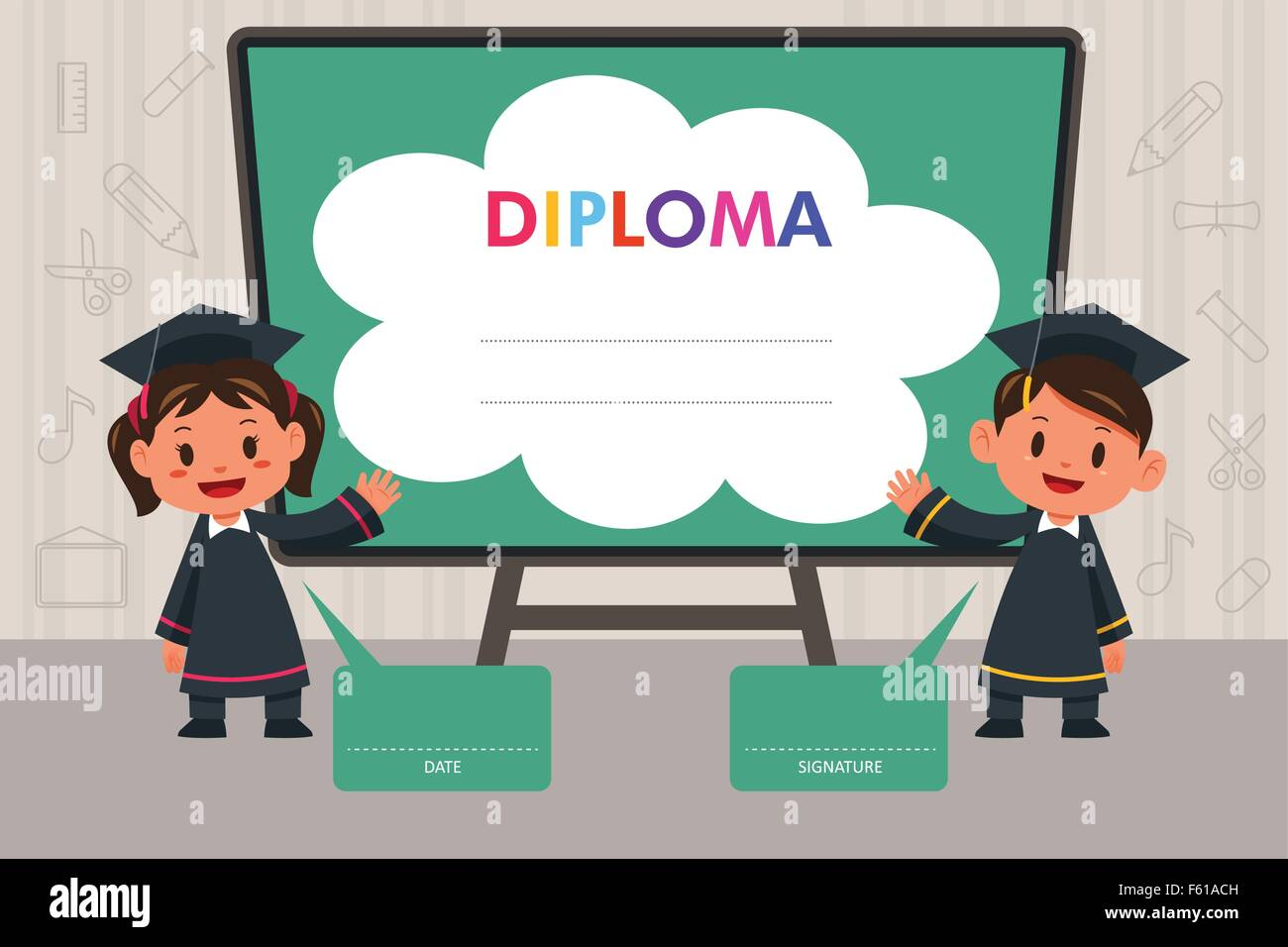 Template School Diploma Children Stock Photos & Template School ...
