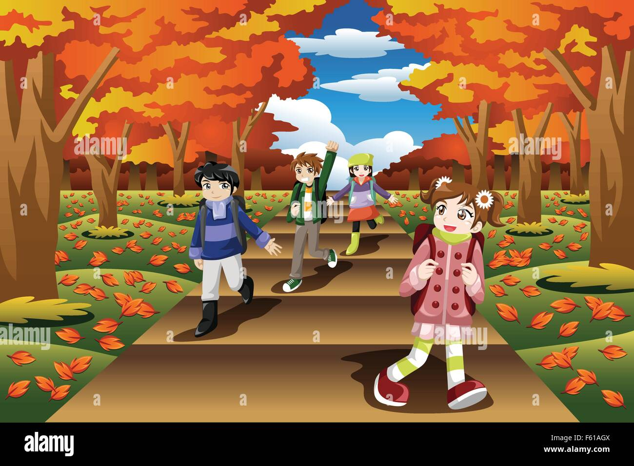 A Vector Illustration Of Happy Kids Hiking In The Fall Season Stock Vector Image Art Alamy