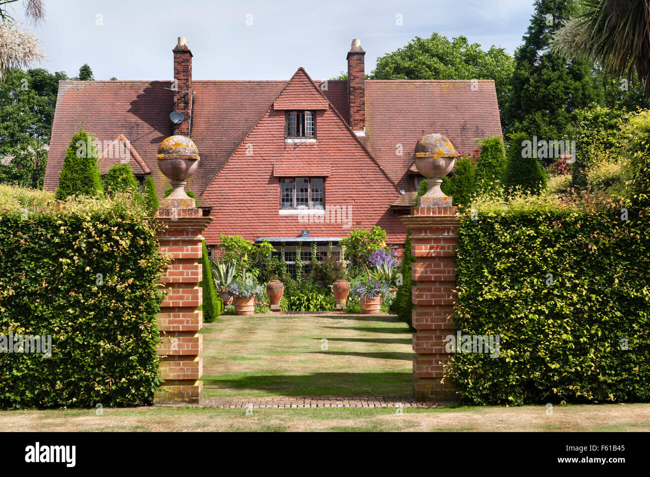 East Ruston Old Vicarage gardens, Norwich, Norfolk, UK. The house - Stock Image