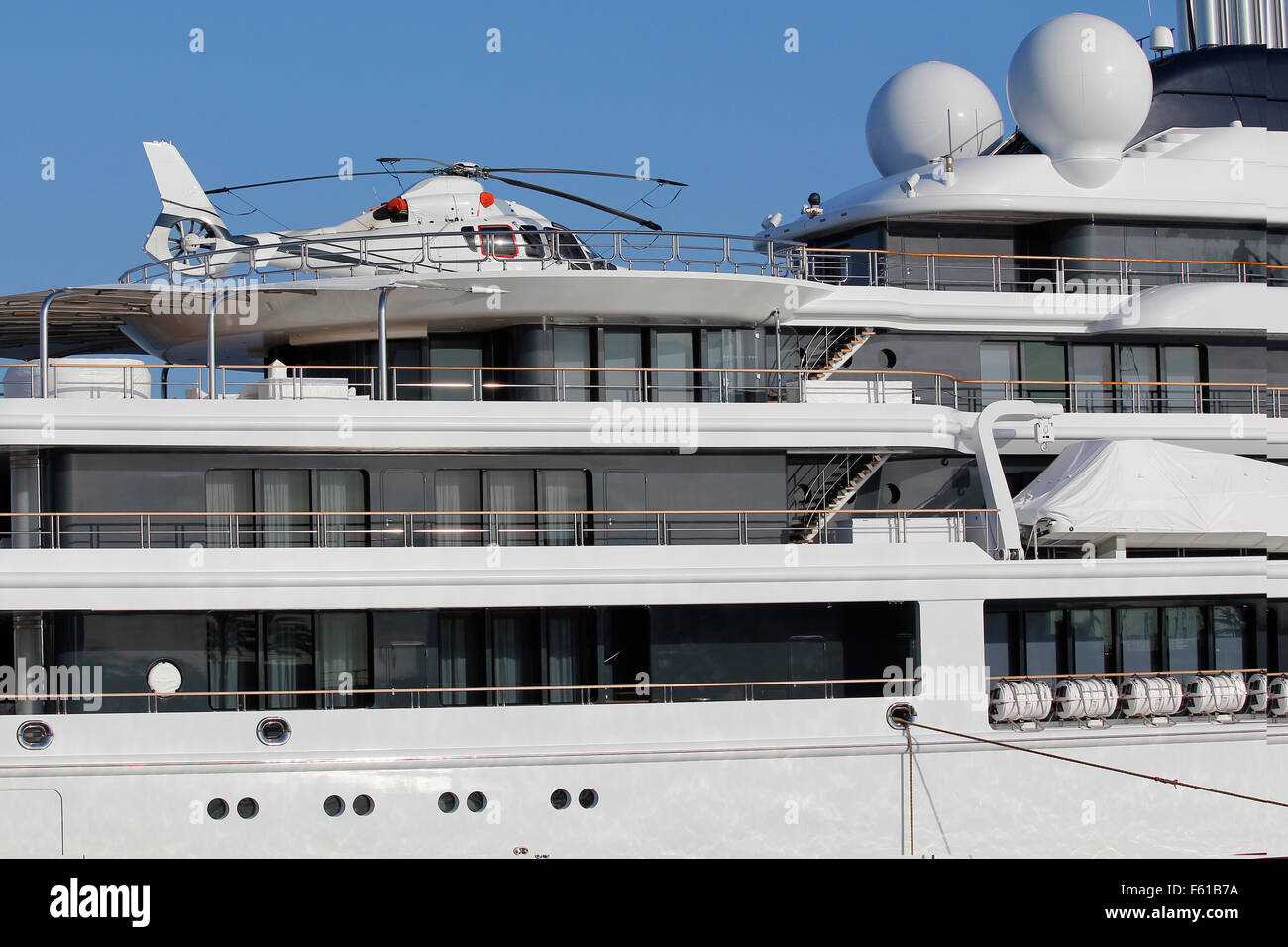 Helicopter in a luxury white yacht - Stock Image